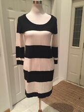 NWT GAP Black/Ivory Striped Sweater Dress Small