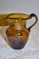 Vintage Hand Blown Punt Glass Coin Dot Pitcher/Creamer Amber/Root beer/brown 5""