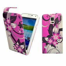 CASE FOR SAMSUNG GALAXY S5 PINK CREAM FLOWER PU LEATHER FLIP POUCH PHONE COVER