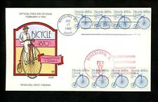 US FDC #1901 Collins HP Hand Painted 1982 Wheeling WV IL Bicycle 1870's Dual