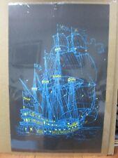 Vintage Black Light Poster  Peace ship I 1970's Inv#G594