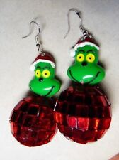 UNIQUE Disco Ball Grinch Stole Christmas 925 Earring Handcrafted Nora's USA