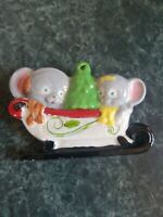 Old Vintage Hand Painted Porcelain Christmas Ornament Mouse on Sled Mice