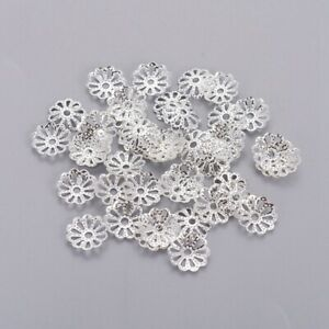 100 Filigrane Perlkappen 9 mm Silber versilbert Endkappen für Perlen
