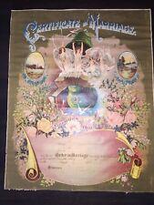 """Antique Victorian Original Marriage Certificate Unused Large 20"""" x 16"""""""
