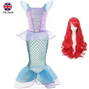 Kids Girls Princess Dress Halloween Party Mermaid Cosplay Costume With Red Wig