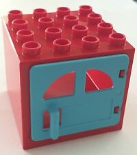 *NEW* Lego DUPLO RED WINDOW FRAME 4X4X2 w MEDIUM AZURE Door with HANDLE