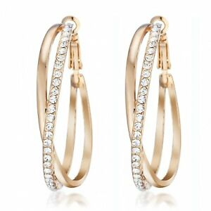 New VALENTINE Women Gold Filled Big Round Diamonds Hoop Pierced Earrings MM032