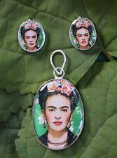 Earrings Alpaca Handmade Mexican Folk Art Frida Flowers in her Hair Pendant &