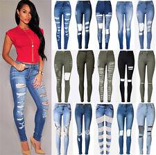 UK Womens Celeb Stretch Ripped Frayed Ladies High Waist Denim Pants Jeans 6-18