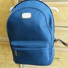 Michael Kors Navy blue backpack brown leather straps inside pockets NWT $298
