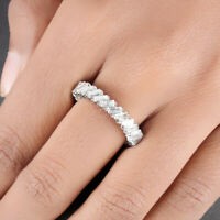 Pave 2.35ct Baguette Diamond Band Eternity Ring Solid 14k White Gold Jewelry US7