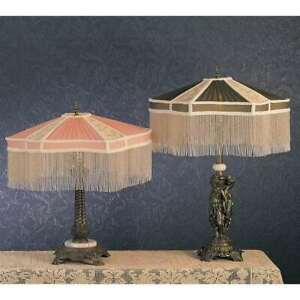Meyda Lighting 22'H Fabric & Fringe Persian Table Lamp, Pink/Ivory - 49469