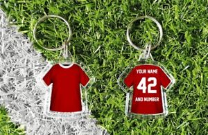 LIVERPOOL personalised t-shirt keyring. Add your own name and number. retro