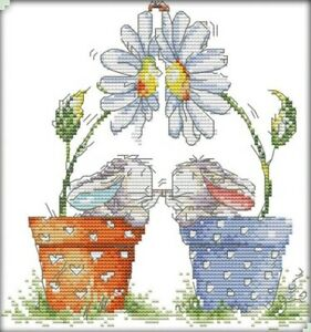 Little Rabbits in Pot. 14CT counted cross stitch kit. Craft brand new