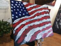 Abstract American flag original painting acrylic palette knife 16x20