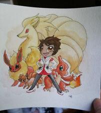 Pokemon Go watercolor painting Valor Red Candela chibi ninetails flareon vulpix
