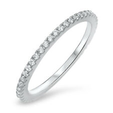Eternity White CZ Cute Ring .925 Sterling Silver Stackable Band Sizes 4-10 NEW