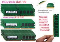 Lot Memory For Samsung 2GB 4GB 8GB DDR2 DDR3 667 800 1600 Mhz Desktop RAM DIMM @