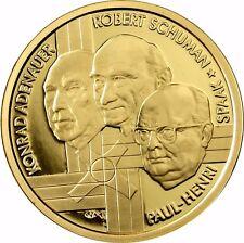 Belgien 100 Euro Gold 2002 PP Die Gründerväter Europas Adenauer, Schuman, Spaak