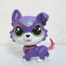 Littlest Pet Shop LPS Toy Sparkle Glitter Dazzle Collier Purple Collie Puppy Dog