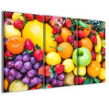 Stampe su tela 3pz.120x90cm Food 073 Quadri Moderni i Colori della Frutta Quadro