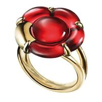 Baccarat Crystal B Flower Small Ring Red Mirror Gold Vermeil Size 7 (55) New