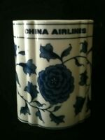 VTG China Airlines Blue White Pot / Vase 4¼ Inch Rare AF | FREE Delivery UK*