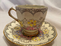 Vintage Tuscan Plant Floral Bone China Teacup Saucer Gold England Tea Cup Yellow