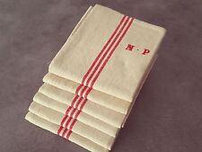 6 Anciens torchons en lin liteau rouge monogramme NP Réf  12418