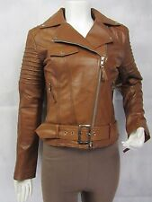 Ladies Tan Brown Napa Leather Slim Tight Fitted Short Biker Jacket Bike