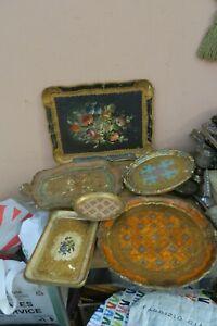 Lot of 6  Vintage Italian Florentine Gold Gilt Jewelry Dresser Vanity Tray