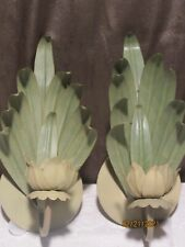 PAIR  Metal Mid Century Modern LEAF CANDLE SCONCES  Green
