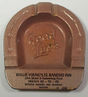 Arizona Willie Youngs El Rancho Inn Good Luck Ashtray Metal Rare Vintage