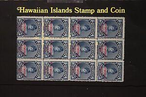 186 HAWAII PROVISIONAL GOVT. 1893 SCOTT #54 UNUSED BLOCK OF 12.  N.G.
