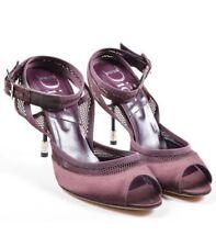 "Christian Dior Satin Mesh Open Toe ""Resille Sandal"" Pump Heels Prune SZ 38.5 8.5"