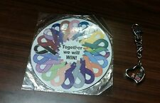 "Breast Cancer Heart Key Ring Chain and large Magnet ""Together We Will Win"" NEW"