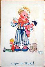 1930s Beatrice Mallet/Artist-Signed Postcard: Dolls, Puppy Dog & Girl