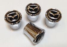 Mazda Logo Black and Silver Tire Valve Stem Caps Set of 4 MADE IN USA