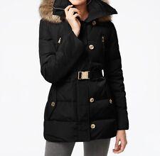 NWT MICHAEL Michael Kors M820828L Faux-Fur-Trim Belted Down Women Coat Black XS