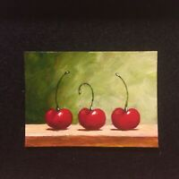 ACEO Original Acrylic Painting Red Cherries Fruit Foodie Kitchen Cherry Art