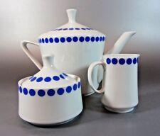 Vintage Tea Pot Set Creamer & Sugar dish Blue Polka Dot Northland 70's f China