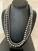 """Native American Sterling Silver Navajo Pearls 6,8,10 mm  Necklace 21"""" 3S 1019"""
