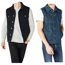 Mens Retro Denim Waistcoats Jeans Slim Fit Jacket Sleeveless Cowboy Biker Vest