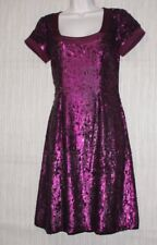 BADGLEY MISCHKA Burgundy Red Sequin Cocktail Cup Sleeve Dress Size:4