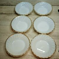 6 VTG Berry Dessert Bowls Anchor Hocking Fire King Milk Glass Swirl Gold Rim USA