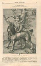 Chien de Goltzius  & Le fils de Théodoric Frisius Peintre Pays-Bas  GRAVURE 1867