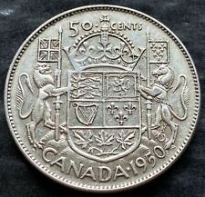1950 Canada Silver 50 Cent Half Dollar Coin - 80% Silver - Great Condition