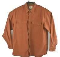Cabelas Mens Long Sleeve Button Up Shirt Corduroy Lined Collar Orange Sz XL Tall