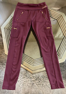 Justice Girls 12 Cargo Leggings Maroon Ruby Rose Gold Zippers